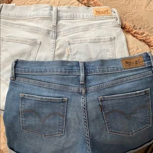 Two pairs of Levi jean shorts